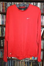 Nike Dri Fit Red w Black Back Venting Long Sleeve Shirt Mens L (bin42)
