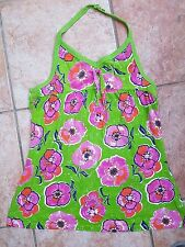 NEXT LIME PINK FLOWER COTTON STRAPPY V-NECK HALTERNECK BOW FRONT TUNIC VEST TOP