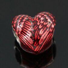 Red Enamel Angel Wings Heart Spacer Charm Bead European Charm Bracelets