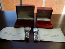 Rare Pair of Vintage Titoni AirMaster Titoflex 21 Jewels Certification & Boxes