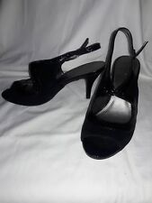 """Women's Bandolino black suede/textured Size 10M shoes with 3"""" heel"""