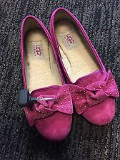 New UGG PINK SUEDE ALLOWAY STUDDED BOW BALLET FLATS, SZ 5/EURO 36 SLIP ON