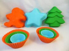 Silicone Baking Set 9 pieces: 6 Cupcake Molds & Gingerbread man & Tree & Star