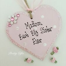 Personalised Best Big Sister Sparkly Heart Handmade Keepsake Gift Plaque
