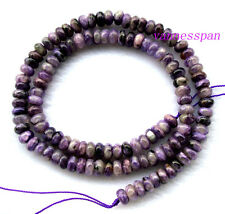 Natural Charoite Rondelle Beads 4×6mm 15.8""