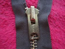 "VINTAGE TALON 6"" BROWN CLOSED HEAVY DUTY BRASS ZIPPER, NOS"