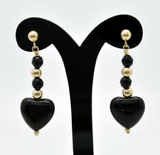14k Yellow Gold Black Onyx Dangle Earrings