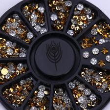 Gold Blume Strass Nagel Glitzersteine Straßsteine  Nageldesign Nail Art