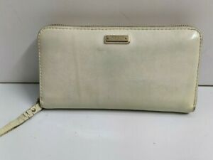 Kate Spade New York Off-White  Patent Leather Zip Around Long Wallet