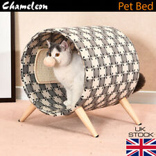 Premium Wood drum Pet Bed Cat Puppy Small Dog Basket Pod Cushion House