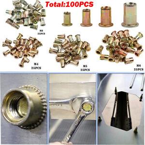 100PCS Mixed Rivet Nut Tool Kits Zinc Steel Rivnut Insert Threaded Nutsert M4-M8