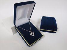 Sterling Silver Heart Pendant 18 Inch Chain In Blue Velvet Gift Box