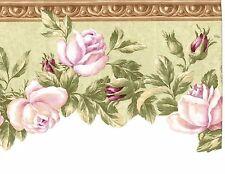 Soft Pink Roses on Green Wallpaper Border EG022104B