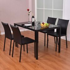 Set of 4 Black Pu Leather Armless Metal Legs Kitchen Dinning Room Chairs Stool