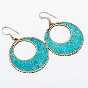 "Turquoise Inlay Handmade Hook Earring 2.34"" T8676"