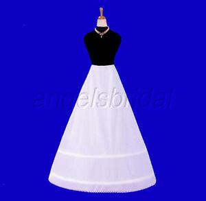 2-Hoop Bone Bridal Wedding Gown Dress Petticoat Crinoline A-line Skirt Slip