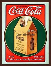 COCA COLA - 6 BOTTLE PACK  - Vintage Ad Fridge Magnet