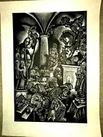 Fritz Eichenberg (1901-1990) pencil signed from the 'Follies' suite woodcut