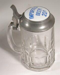 """1910s """"IMPORTED BEER 20¢"""" SALOON ADVERTISING LIDDED GLASS STEIN / BEER MUG"""