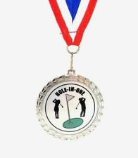 Golf Medal- Hole-In-One- Bright Silver Finish- Free Neck Ribbon