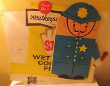 Red Ball Footwear Cardboard Ball Band Shoe Store - Weatherproofs Ad Sign 1950s