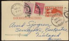 USA MI 421 MIF on Postal Stationery Card to Finland