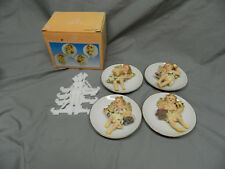 NIB Ashley Belle Set of 4 Small Collectible Angel Plates With Plastic Stands