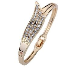 Rose Gold Angle Wing Crystal Chain Link Bangle Bracelet Women Gift Cuff Elegant