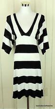 After The Rain L Black & White Bold Stripe Stretch Knit Sweater Dress