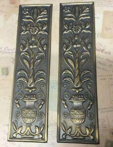 Reclaimed Solid Brass Door Finger Plates Antique Brass finish Large Oblong