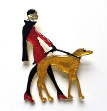 Butler Y Wilson Rojo Amarillo Esmalte Dama Caminar Perro Broche Nuevo