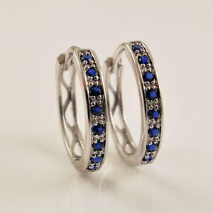925 Sterling Silver Filled Sapphire Blue Crystal Huggie Hoop Earrings UK