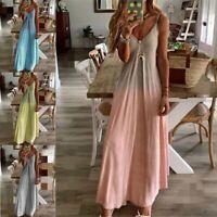 Women Sleeveless Strap V-neck Gradient Maxi Dress Boho Beach Party Sundress