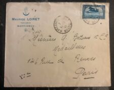 1922 Marrakech Morocco Commercial Airmail Cover to Paris France