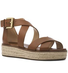 NIB Size 6.5 Michael Kors Darby Leather Espadrille Sandals Luggage Tan