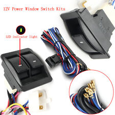 12V Universal Power Window Switch Kits With Wiring Harness + Switch Holder US