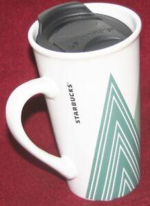 Starbucks Coffee Tea Mug Tapered Ceramic w/No Spill Lid Triangle Pattern 14 Oz