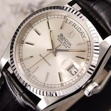 Authentic Bulova Super Seville Day Date Silver Dial Automatic Mens Watch