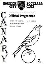 Norwich City v Queens Park Rangers Reserves programme, Combination, April 1988
