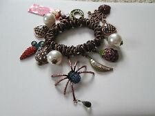NWT Auth Betsey Johnson Vintage Vegetable Garden Spider Charm Stretch Bracelet