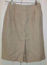 TALBOTS Tan/White Pin Striped Lined Pencil Skirt Italian Fabric Size 2