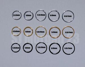 Fake Piercing Ring. Nose Lip Or Body Parts Silver, Black ,Gold Various Sizes.