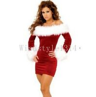 Womens Slim Off-Shoulder Santa Costume Christmas Fancy Dress Party Xmas Outfit