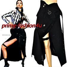 Vintage John Galliano Double breasted Buttons Black Wool Belted Wrap Midi Skirt
