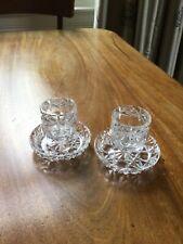 Pair of cut glass tea light holders