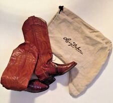 Larry Mahan Eelskin Rare Vintage Tall Cowboy Boots Embroidered 5.5 Boot Bags