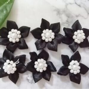 5-40 pcs Pearl Satin Ribbon Flower w/crystal bead Sewing Wedding Appliques