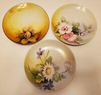 "Set of 3 Hand Painted Nippon Nut Plates Morimura Bros 6"""
