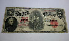 1907 USA $5 DOLLARS WOODCHOPPER UNITED STATES CIRCULATED F/VF BANK NOTE