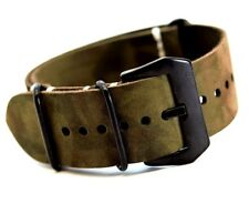 Zulu Strap style Italian Leather camouflage Watch Band Handmade 18,20,22,24,26mm